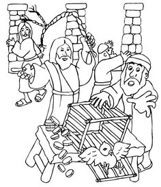 Jesus And Money Changers Coloring Page