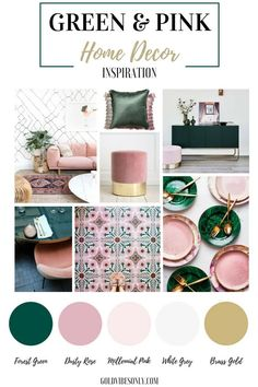 Green and pink interiors and home decor inspiration. How to create the look, trend alert, the new classic colour combination. Brass gold accents. #GoldBedding