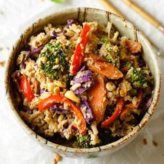 My super veggie peanut sauce stir fry with cauliflower rice is fresh, fun and satisfying. Lower calories = more noshing! Stir Fry Recipes, Clean Recipes, Side Dish Recipes, Healthy Dinner Recipes, Vegetarian Recipes, Top Recipes, Summer Recipes, Free Recipes, Herbs