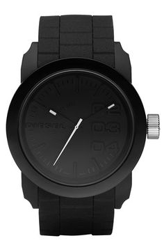 Free shipping and returns on DIESEL® 'Double Down' Round Silicone Strap Watch, 44mm at Nordstrom.com. Textured silicone strap adds tactile detail to a tonal, lightweight watch displaying stylized numerals on the three-hand dial.
