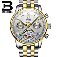 (62.00$)  Know more - http://ai46n.worlditems.win/all/product.php?id=32782125631 - 2016 Men Watches Luxury Top Brand BINGER Sport Watch Full Steel Gold Clock Men Tourbillon Automatic Wristwatch With