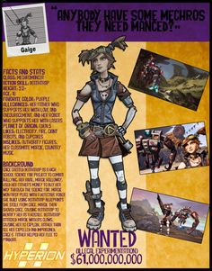 Borderlands 2 Wanted Posters - Gaige by NerdscapeDesigns on Etsy https://www.etsy.com/listing/291324241/borderlands-2-wanted-posters-gaige