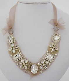Erin Cole Jewelry Tulle Necklace wtih Crystal Brooches