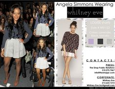 Angela Simmons rockin the Louise Shorts by Whitney Eve