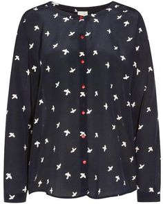Lightweight boxy fit shirt featuring collarless design, all over bird print, round neckline, sparkling red front button fastenings, long sleeves and curved back hem.