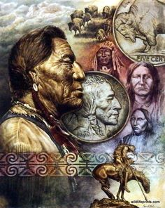David Behrens uses his artistic ability to capture the essence of Native American culture while using the shiny colors of coins to create the image of FIVE CENT PIECE. This print is available in an un