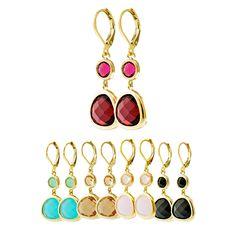 5133ce20a76c 20P100 Aretes fabricados en oro laminado con zirconia redonda y en forma de  gota