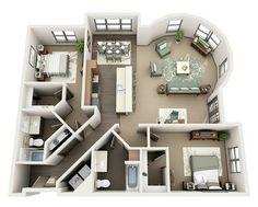 """1,906 curtidas, 14 comentários - Plantas e afins (@plantaseafins) no Instagram: """"Apartamento em 3D com dois quartos, sendo que ambos tem closet e um deles é uma suite com banheira,…"""""""
