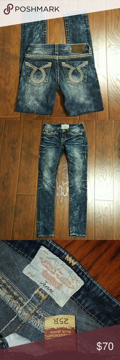 Big Star skinny jeans Jenae size 25 Big Star skinny jeans Jenae size 25. Inseam is 31 inches.. cotton, polyester, spandex. The rise is 6 inches Big Star Jeans Skinny