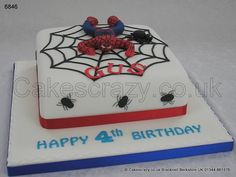 Spiderman Cake. Square cake with a modelled spiderman character and web