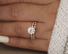 Wedding Ring Set, Moissanite Rose Gold Engagement Ring, Round 8mm Moissanite Ring, Diamond Milgrain Band, Solitaire Ring, Promise Ring
