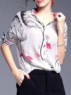 Shop Blouses - White Casual Silk Stand Collar Blouse online. Discover unique designers fashion at StyleWe.com.