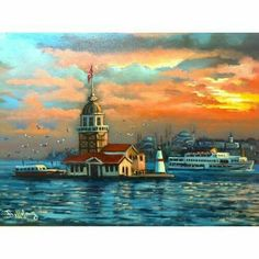 Untitled - Hobbies paining body for kids and adult Color Poem, Istanbul City, Turkish Art, Hagia Sophia, Pour Painting, Sky And Clouds, Islamic Art, Art History, Landscape Paintings