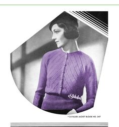 1930s Sweater with Diagonal Strip Cardigan with Wide door eStitches