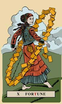 The meaning of Wheel of Fortune from the English Magic Tarot deck: Learn to go with the flow without resisting ups and downs.
