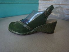 Rare GREEN SUEDE And Snake Wedges Sandals Shoes by Flipsville, $75.00