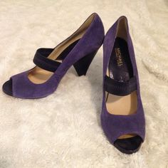 MICHAEL KORS Purple Suede Heels. Size 9M. MICHAEL KORS Purple Suede Peep Toe Heels. Size 9M. 4 1/2 inch heel. Gently worn. Great condition. Light spot on left, above heel as seen in back pic. Michael Kors Shoes Heels