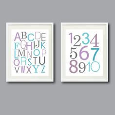 Alphabet and Numbers-Set of Two 11x14 Prints -For Nursery, Kids Room, Playroom-Aqua, Purple and Grey/Gray OR Choose Colors-Modern Wall Art. $48.00, via Etsy.