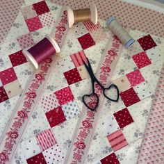 """""""Now comes the fun part, hand quilting this little sweetheart. Can't decide what color thread to use."""""""