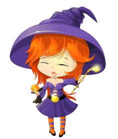cute purple witch transparent clipart - Cute Halloween Witches