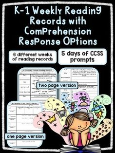 EDITABLE K/1 Weekly Fiction Reading Records w/ Comprehensi Weekly Reading Logs, Reading Record, Reading Homework, Guided Reading Groups, Reading Response, Student Reading, Reading Strategies, No Response, Letter To Parents