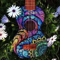 "culturenlifestyle: ""Psychedelic Mandala Inspired Illustrations by Lauren Swan Australian artist Lauren Swan's deep passion for the sea and its infinite deep blue beauty reigns high in every piece of. Ukulele Art, Guitar Art, Luna Ukulele, Guitar Painting, Diy Painting, Painted Ukulele, Painted Guitars, Ukulele Design, Hippie Vibes"