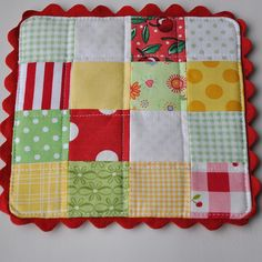 How to add a ric rac edge & link to making a Scrappy Mug Mat by Pleasant Home, via Flickr