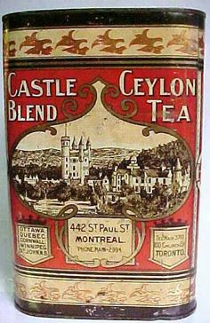 scene of European castle and addresses of Montral and Toronto sellers, lithographed tin made by Tos. Limited Montreal, c. Tea Canisters, Tea Tins, Vintage Packaging, Tea Packaging, Spice Tins, Tin Containers, Art Nouveau, Fun Cup, Vintage Tins