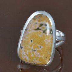 EXCLUSIVE 925 SOLID STERLING SILVER Ocean Jasper NEW RING 6.99g DJR9538 SZ-7.5 #Handmade #Ring