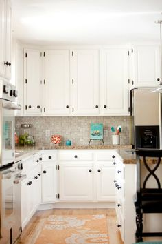 I LOVE this cabinet color and counter top combination