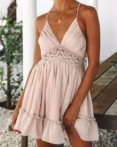 Dress Summer Bodycon Women Dresses Neon Beach Boho White Vestidos Sundress Mini Lace Patchwork Backless Color Black Size S - - Source by harrysmandy Vestidos Color Rosa, Mini Vestidos, Boho Dress, Lace Dress, Bohemian Dresses, Lace Skirt, White Dress, Beach Dresses, Summer Dresses