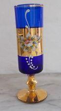 Vintage Bohemian Czech Cobalt Blue Gold Enamel Flowers Glass Vase Hand Painted