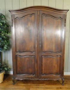 Antique French Country Armoire With Recessed Panels