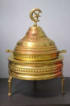 "Beautiful Hand Detailed Antique Middle Eastern Brass Incense Burner - Ceremonial Censer Perfume Vessel - 13.5"" Diameter x 22"" H"
