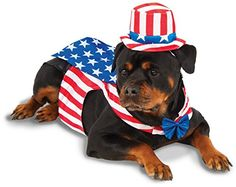 """Brand new Officially Licensed Independence Day Standard Uncle Sam costume Pet Size Pet XXL (36"""" Neck-Tail) to XXXL (38"""" Neck-Tail), approx XXL (36"""" Neck-Tail) to XXXL (38"""" Neck-Tail). All measurements provided by Rubies and are accurate within tolerance. Please measure your pets neck-to-tail length and chest before ordering. This posting includes: Red and white striped vest, blue bowtie, blue cape with white stars, and matching hat headpiece as featured"""