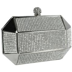 MG Collection Silver Rhinestones Rectangular Hard Case Minaudiere Evening Clutch