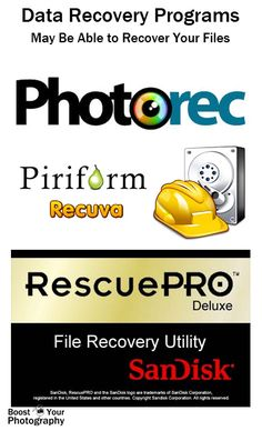 Memory Card Disaster: what to do about broken, corrupt, or damaged memory cards | Boost Your PhotographyTips on solving memory card disasters including using data recovery programs to find and recover your files.