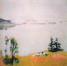 Fairfield Porter [American Painter, Calm Morning 1961 Oil on canvas Private collection Fairfield Porter, Landscape Art, Landscape Paintings, Painting Inspiration, Art Inspo, Paintings I Love, American Art, Painting & Drawing, Painting Portraits