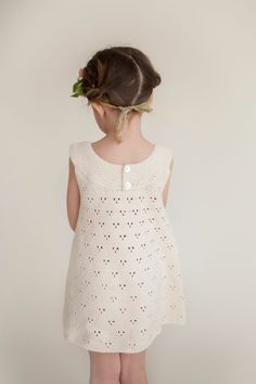 The Rebecca Dress in cream is hand-crocheted with eco-friendly raw organic cotton. www.mioukids.com