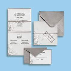 "Brides.com: Brides Wedding Collection. ""Silver and White"" wedding invitation by Brides Wedding Collection   Available at Michaels stores nationwide. Find a location near you."