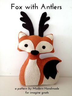 sewing: stuffed fox with antlers free pattern http://imaginegnats.com/sewing-stuffed-fox-antlers-free-pattern/