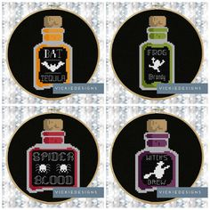 Potion Bottle Bat Halloween Gothic Cross Stitch by VickieDesigns