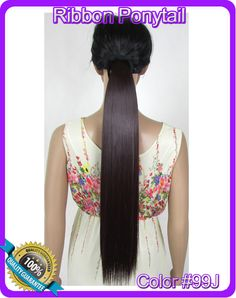 "22""(55cm) 90g straight ribbon ponytail hairpiece hair pieces clip in hair extensions color #99J Dark Burgundy Red"