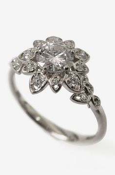 Lovely Clusters - Beautiful Shops: Diamond Art Deco Petal Engagement Ring - 18K White Gold and Diamond