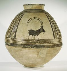 thenecromerchantsdebt:  Storage jar decorated with mountain goats Period: Chalcolithic Date: ca. 3800-3700 B.C. Geography: Central Iran Medium: Ceramic, paint Dimensions: 20 7/8 in. (53 cm) Classification: Ceramics Description: Traditions of making painted pottery flourished in agricultural villages throughout the Near East by the late Neolithic period of the seventh millennium B.C. These early ceramics were made by hand in a variety of techniques, including coil, mold, and slab…