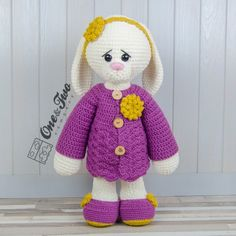 """Blossom the Big Bunny """"Big Hugs Series"""" Amigurumi Crochet Pattern by One and Two Company"""
