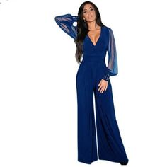 Womens Jumpsuit  Party V-neck Embellished Cuffs Mesh Sleeves Loose Club Pants