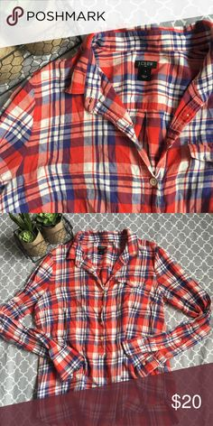 J. Crew Popover Plaid Shirt J. Crew Factory Popover plaid, lightweight cotton, full length sleeves, half button down, bust is 40 inches, length is 26 inches, in excellent condition. J. Crew Factory Tops