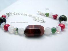 Gemini Bracelet for June Birthday with Red by DanusTreasureTrove. $15.00 USD, via Etsy.