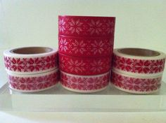 CHRISTMAS POINSETTIA WASHI TAPE: CHOOSE FROM 2 DIFFERENT PATTERNS- BRAND NEW